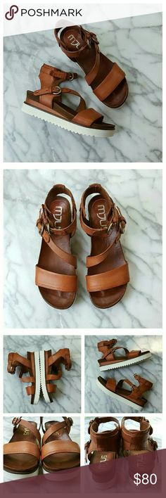 81f3fd04fa969 Free People Centuries Distress Sandal by A.S. 98 Strappy flatform sandals  in rich brown distressed leather