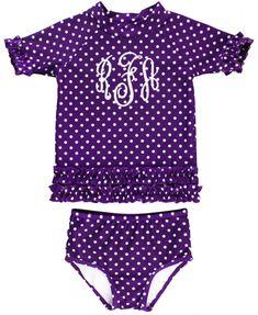 bca040c192 Grape Polka Dot Ruffled Rash Guard Bikini. Rash Guard SwimwearBaby ...