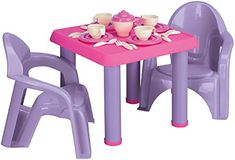 Kids Chair Potty Baby Picnic Set Tea party table and chairs plus tea service set Number of pieces: 28 Assembled size: in. (table), in. (chair) Recommended ages: 3 years and up NOTE: Please allow weeks delivery due to popularity.
