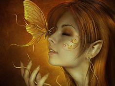 Fantasy Elf  Girl Butterfly Wallpaper