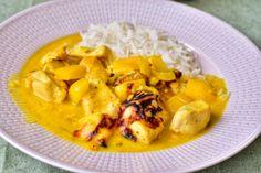Mango- och currykycklinggratäng | Elina & Mickes mat Chutney, Thai Red Curry, Foodies, Mango, Chicken, Cooking, Ethnic Recipes, Manga, Kitchen