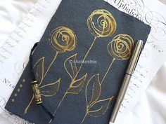 gold roses original drawing and design for this Sketch Book, Journal or Notebook with blank pages