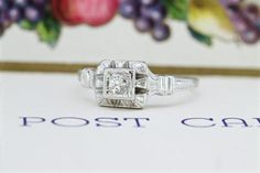 Edwardian Engagement Ring   Antique Promise Ring   1920s Art Deco Ring   18k White Gold Filigree Ring   Unique Engagement Ring   Size 5.5