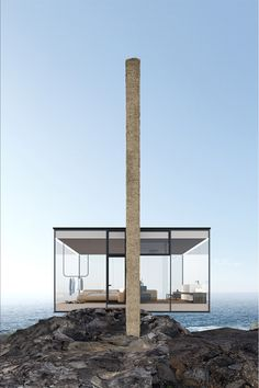 Would-be owners of this floating glass cabin, which juts out and over the cliff's edge and was conceived for a surfer, will need a head for heights. Yakusha Design, its creator, has imagined a minimalist take on clifftop living, wrapping the home in 270 degrees of glass and attaching it to a concrete pillar to amplify its views. Follow the link to see more gravity-defying clifftop homes we'd like to see built at TheSpaces.com  Visuals: Serhiy Chornousov Courtesy Yakusha Design #architecture  Cgi, Glass Cabin, Glass Structure, Cliff House, Glasgow School Of Art, Underground Homes, Minimalist Architecture, Architecture Design, Cabin Design