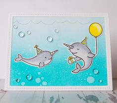 Lawn Fawn Ocean Wave Borders, Lawn Fawn Critters in the Arctic, Lawn Fawn Mermaid for You, Lawn Fawn Stitched Rectangle Frames. Lawn Fawn Party Animal.