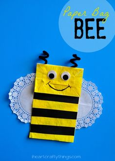 Paper Bag Bee Kids Craft from iheartcraftythings.com. Cute spring craft for kids or for learning about insects.