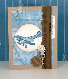 Plane and Simple stamp set. Confetti Cream and Soft Suede CS. Nautical Expeditions dsp.