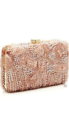 The Enchanted Cove Clutch Wallet, Rose Gold Clutch, Clutch Bags, Elie Saab, Fashion Bags, Fashion Accessories, Mode Rose, Designer Purses, Beads