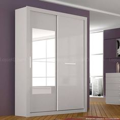 Guarda-roupa 2 Portas de Correr com Espelho Sonetto em MDF Com Espelho Branco/Branco/Preto - Novo Horizonte