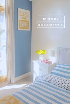 Mr. Bazaar's Bedroom: Decorating Updates * blue stripes and polka dots.