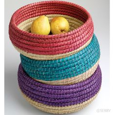 Baskets - Two-Tone Basket Set   SERRV -- You have to buy the set of 3, but I solved that by giving 2 as Christmas presents. Great size, shape, and sturdiness.  I keep crochet yarns in it and pull from it as I work.