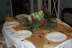 White linen hand embroidered early 800 and golden over tablecloth