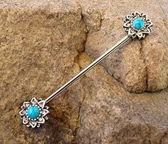 Covet Jewelry 316L Surgical Steel Industrial Barbell with Turquoise Beads and Tribal Feather Dangle