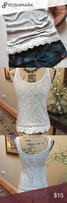 Delias Top Pale gray sweater tank top with crocheted hem, size medium, but this top runs a little small, so cute wth Jean shorts and ankle boots or sandals Delias Tops Tank Tops