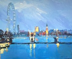 Looking west from Waterloo Bridge. Original Painting by Katharine Rowe