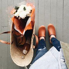running errands in classic tan clogs