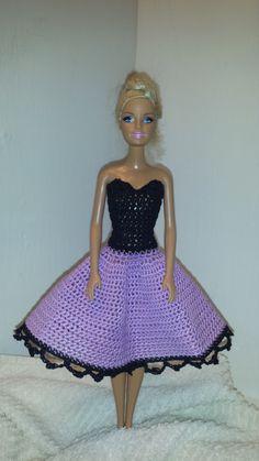 Crochet Barbie Strapless Dress, Fashion Doll Crocheted Clothing, Handmade Barbie Clothes by GrandmasGalleria on Etsy