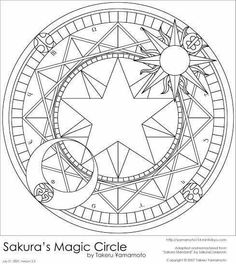 This is a vector art of the magic circle used by Sakura while she is casting magic. It was done in Photoshop and vectored almost entirely from scratch. It took me four hours; it is my first vec. Coloring Book Pages, Coloring Sheets, Card Captor, Magic Circle, Cardcaptor Sakura, Book Of Shadows, Pyrography, Sacred Geometry, Graphic