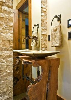How much raw wood can I possibly find to incorporate into every part of my home. Modern Rustic Bathroom Design Ideas, Pictures, Remodel and Décor Zen Bathroom Design, Wood Slab, Live Edge Wood, Modern Bathroom Design, Bathroom Styling, Natural Wood Furniture, Bathroom Design, Wood Furniture, Man Cave Bathroom
