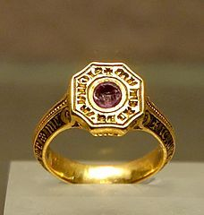 Medieval Jewelry: Signet-ring of the Black Prince (1330–1376). Gold (originally enameled) and ruby, late 14th century