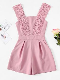 Lace Panel Zip Up JumpsuitFor Women-romwe Baby Girl Dress Patterns, Baby Dress Design, Toddler Girl Dresses, Girls Fashion Clothes, Teen Fashion Outfits, Kids Outfits, Girl Fashion, Cute Summer Outfits, Cute Outfits