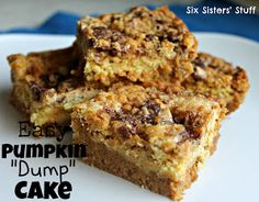 Easy Pumpkin Dump Cake Recipe from Sixsistersstuff.com. If you love pumpkin... you will LOVE this!