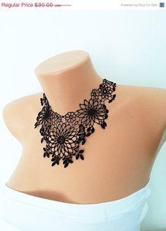 FREE SHIPPING Lux Black Lace Necklace Cotton от ArtofAccessory