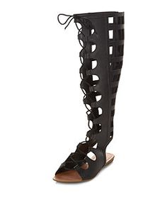 Black Cut Out Lace Up High Leg Sandals  | New Look