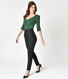 Got a light, gals? The ultimate 1950s inspired Pin-up pant, the Raven Black Cigarette Pants from Vixen By Micheline Pitt are sure to turn every head! Made of a fabulous twill that has the weight and sturdiness of denim but a lovely amount of give and soft