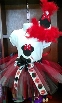 Minnie Mouse Party Hat Shirt and TUTU Outfit by alliekatzboutique, $49.00