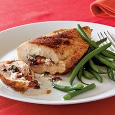 Mediterranean Stuffed Chicken Breasts < 10 Clean Eating Recipes for Weeknights - Cooking Light