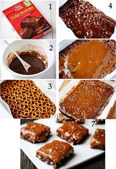 Salted Pretzel Caramel Brownies  To make them you need:  1 box Betty Crocker fudge brownies (for a 9×13 pan) 2 eggs 1/4 cup water 2/3 cup vegetable oil 3 cups pretzels 1 jar caramel sauce coarse sea salt