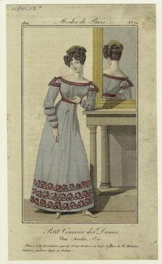 Fashion plate, 1822 France, Petit Courrier des Dames