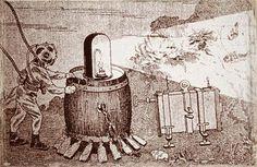Disegno esemplificativo della tecnica di ripresa e illuminazione subacquea usata da Luois Boutan