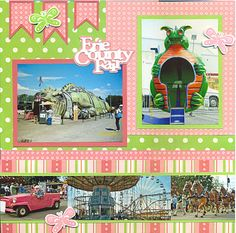 #papercraft #scrapbook #layout. County fair layout