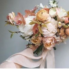 pink & peach hued floral bouquet tied with Silk and Willow Plant Dyed Silk Ribbon Fall Wedding Flowers, Wedding Flower Inspiration, Bridal Flowers, Floral Wedding, Wedding Bouquets, Color Inspiration, Wedding Dresses, Floral Bouquets, Floral Wreath
