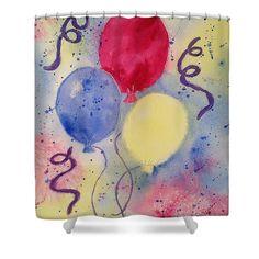 """Balloon Fest"" Shower Curtain for Sale by Lynn Tolson #ShowerCurtain #FineArtAmerica #BathroomDecor #BedBathDesign #HomeDecor #HomeDesign #BedBathSuite #KidsBathDecor #ChildrensBathroomDecor #BalloonDecor"
