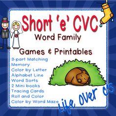 Short 'e' Word Families BUNDLE!  CVC Games/Centers and Wor