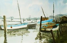 Up The Creek! A large original watercolour painting of boats at anchor in a creek!