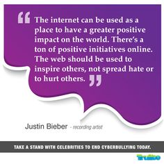Take a stand with celebrities to end #Cyberbullying today! #JustinBieber
