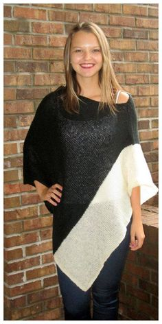 """WOODEN SHIPS!! """"Colorblock Poncho - Ivory"""" $98 sizes s/m and m/l  Ordering is easy --> 315.565.5586 OR https://secure.jotformpro.com/form/51514909970966 Have questions?? Feel free to ask!!"""