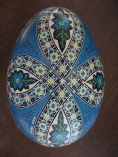 Blue Forgetmenots Pysanka, Pysanky Goose egg by So Jeo