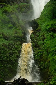 Pistyll Rhaeadr. The highest waterfall in the Wales & England. 240 feet in total. Located near the village of Llanrhaeadr-ym-Mochnant in Powys, Wales, twelve miles west of Oswestry. Considered one of the 7 wonders of Wales