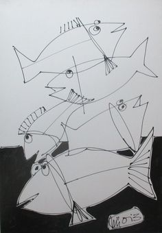 Buy fishes drawing on canvas  27,5 x 39,4 inch, Acrylic painting by Max  Müller on Artfinder. Discover thousands of other original paintings, prints, sculptures and photography from independent artists.
