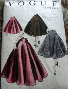 LOVELY VTG 1950s SKIRT VOGUE Sewing Pattern WAIST 26
