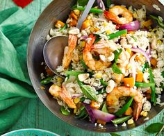 Green curry prawn, basil and cashew fried rice recipe | Food To Love