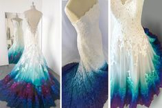 Painted Bridal Gowns in Beautiful Blue Hues This can be done on any dress! Painted Bridal Gowns in Beautiful Blue Hues This can be done on any dress! Dip Dye Wedding Dress, Custom Wedding Dress, Colored Wedding Dresses, Dream Wedding Dresses, Boho Wedding Dress, Peacock Wedding Dresses, Rainbow Wedding Dress, Peacock Dress, Tulle Wedding