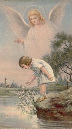 I love all the guardian angel pictures. I had several of them on my wall as a kid, and my kids will have them too. Vintage Illustration, I Believe In Angels, My Guardian Angel, Guardian Angel Pictures, Angels Among Us, Angels In Heaven, Heavenly Angels, Angel Art, Religious Art