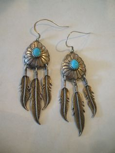 Vintage NAVAJO Hand-Stamped Sterling Silver Feather Dangles TURQUOISE EARRINGS.  TurquoiseKachina, $148.88