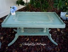 RESERVE French Shabby Vintage Pie Crust Top Table - hand painted in Annie Sloan's Duck Egg Blue - Brittney